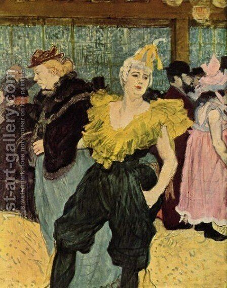 The Clownesse Cha U Ka O In Moulin Rouge by Toulouse-Lautrec - Reproduction Oil Painting