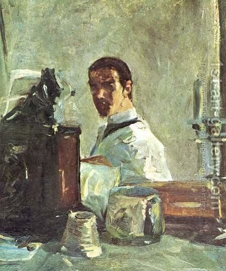 Self Portrait Before A Mirror by Toulouse-Lautrec - Reproduction Oil Painting