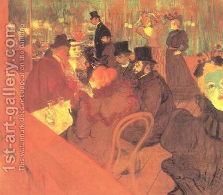 At The Moulin Rouge by Toulouse-Lautrec - Reproduction Oil Painting
