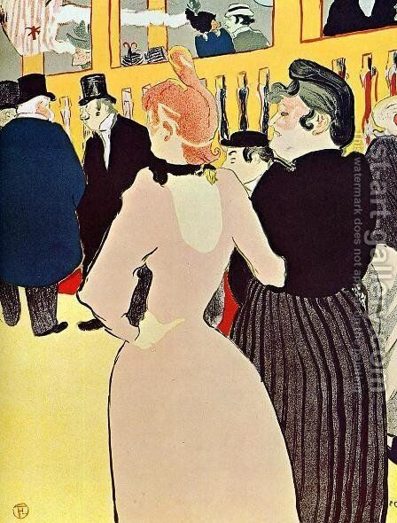 At The Moulin Rouge Ii by Toulouse-Lautrec - Reproduction Oil Painting