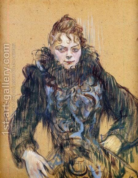 Woman With A Black Feather Boa by Toulouse-Lautrec - Reproduction Oil Painting