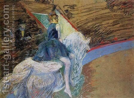 At The Cirque Fernando Rider On A White Horse by Toulouse-Lautrec - Reproduction Oil Painting