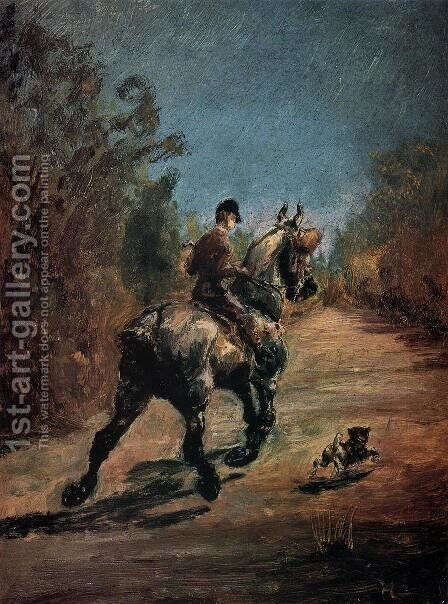 Horse And Rider With A Little Dog by Toulouse-Lautrec - Reproduction Oil Painting