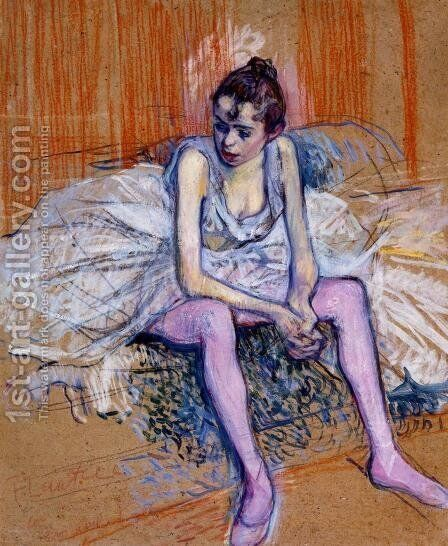 Seated Dancer In Pink Tights by Toulouse-Lautrec - Reproduction Oil Painting