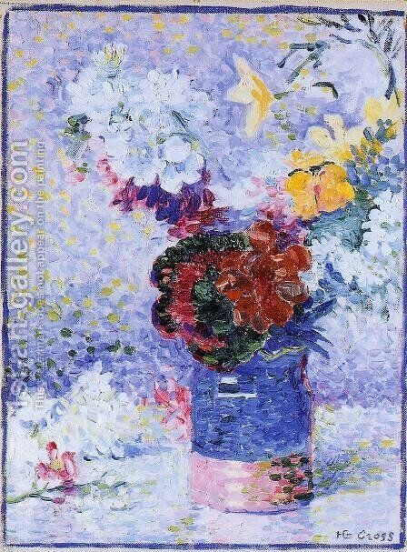 Flowers In A Glass by Henri Edmond Cross - Reproduction Oil Painting