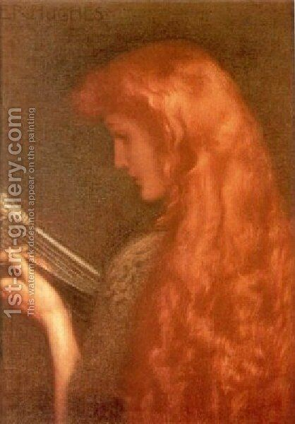 Making Music by Edward Robert Hughes R.W.S. - Reproduction Oil Painting