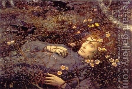 Oh Whats That In The Hollow by Edward Robert Hughes R.W.S. - Reproduction Oil Painting