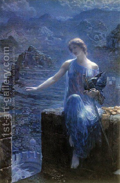 The Valkyres Vigil by Edward Robert Hughes R.W.S. - Reproduction Oil Painting