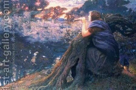 Twilight Fantasy by Edward Robert Hughes R.W.S. - Reproduction Oil Painting