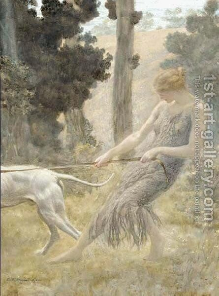 Woman Walking Her Dog by Edward Robert Hughes R.W.S. - Reproduction Oil Painting