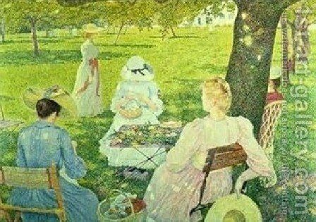 Family In The Orchard by Theo Van Rysselberghe - Reproduction Oil Painting