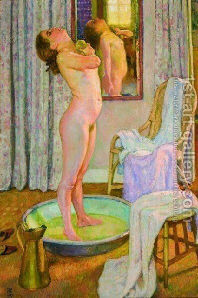 Young Girl In The Tub by Theo Van Rysselberghe - Reproduction Oil Painting