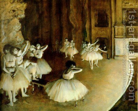 Ballet Rehearsal On Stage by Edgar Degas - Reproduction Oil Painting