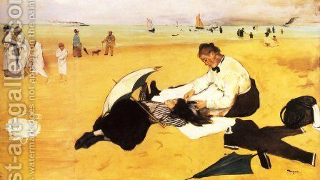 Beach Scene by Edgar Degas - Reproduction Oil Painting
