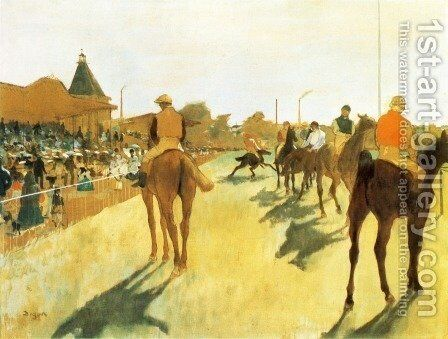 Racehorses in Front of the Grandstand 1866-68 by Edgar Degas - Reproduction Oil Painting