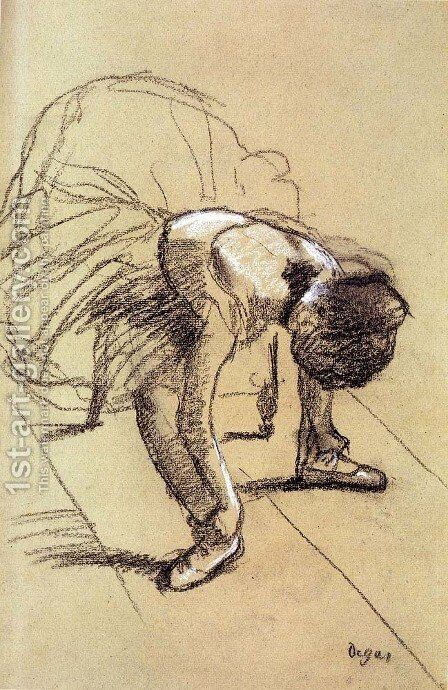 Seated Dancer Adjusting Her Shoes by Edgar Degas - Reproduction Oil Painting