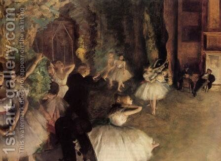 The Rehearsal Of The Ballet Onstage by Edgar Degas - Reproduction Oil Painting