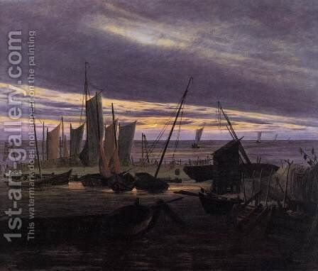 Boats in the Harbour at Evening c. 1828 by Caspar David Friedrich - Reproduction Oil Painting