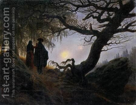 Man and Woman Contemplating the Moon c. 1824 by Caspar David Friedrich - Reproduction Oil Painting