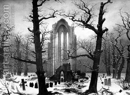 Monastery Graveyard In The Snow by Caspar David Friedrich - Reproduction Oil Painting