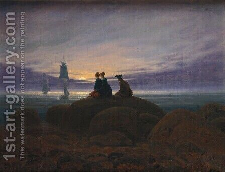 Moonrise by the Sea c. 1822 by Caspar David Friedrich - Reproduction Oil Painting