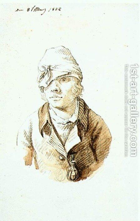 Self Portrait With Cap And Sighting Eye Shield 1802 by Caspar David Friedrich - Reproduction Oil Painting