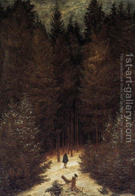 The Chasseur in the Forest 1814 by Caspar David Friedrich - Reproduction Oil Painting