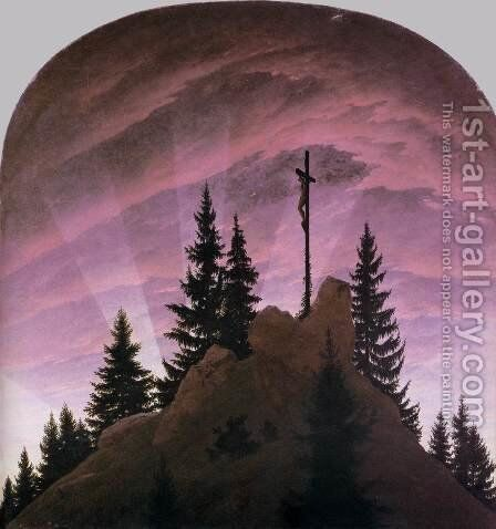 The Cross In The Mountains (Tetschen Altar) 1808 by Caspar David Friedrich - Reproduction Oil Painting