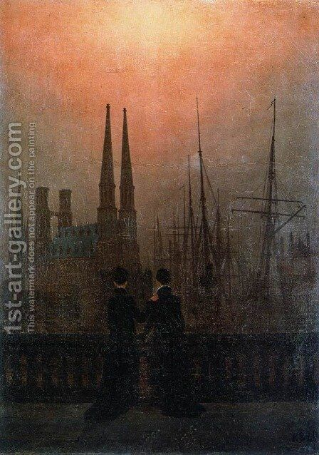 The Sisters on the Balcony c. 1820 by Caspar David Friedrich - Reproduction Oil Painting
