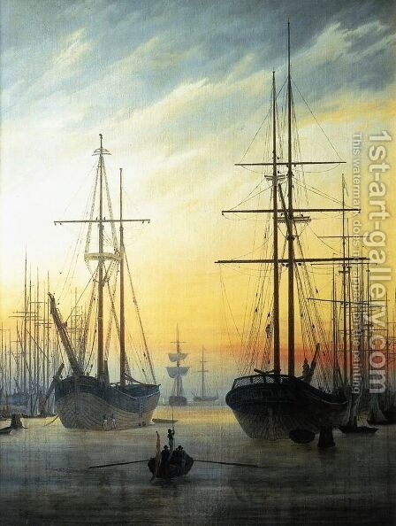 View of a Harbour 1815-16 by Caspar David Friedrich - Reproduction Oil Painting
