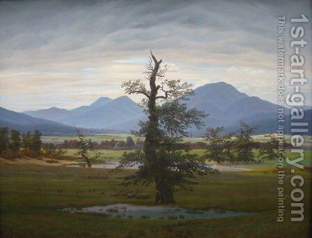 Village Landscape in Morning Light (The Lone Tree) 1822 by Caspar David Friedrich - Reproduction Oil Painting