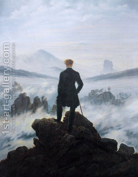 The Wanderer above the Mists 1817-18 by Caspar David Friedrich - Reproduction Oil Painting