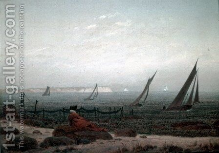 Woman on the Beach of Rugen 1818 by Caspar David Friedrich - Reproduction Oil Painting