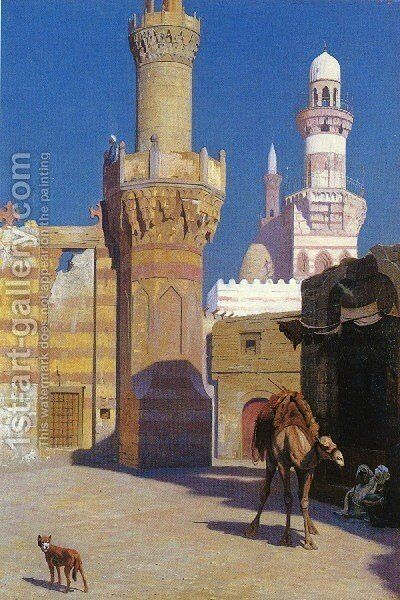 A Hot Day In Cairo   In Front Of The Mosque by Jean-Léon Gérôme - Reproduction Oil Painting