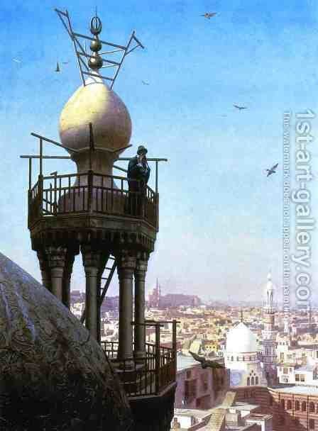 A Muezzin Calling From The Top Of A Minaret The Faithful To Prayer by Jean-Léon Gérôme - Reproduction Oil Painting