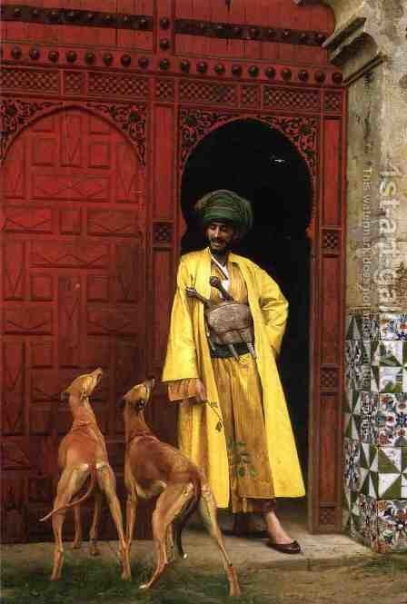 An Arab And His Dogs by Jean-Léon Gérôme - Reproduction Oil Painting