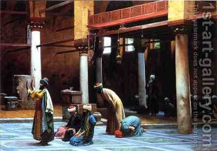 Prayer In The Mosque by Jean-Léon Gérôme - Reproduction Oil Painting