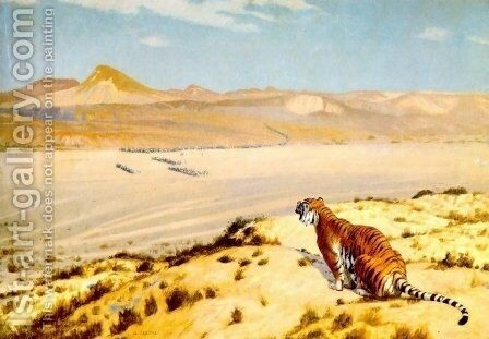 Tiger On The Watch by Jean-Léon Gérôme - Reproduction Oil Painting