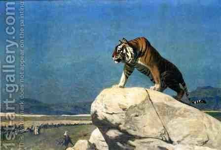 Tiger On The Watch Ii by Jean-Léon Gérôme - Reproduction Oil Painting