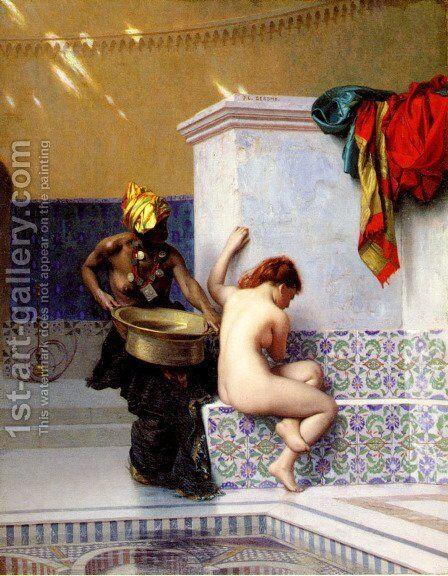 Turkish Bath Or Moorish Bath   Two Women by Jean-Léon Gérôme - Reproduction Oil Painting