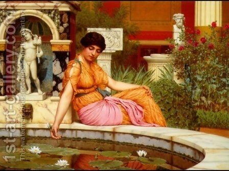 A Lily Pond by John William Godward - Reproduction Oil Painting