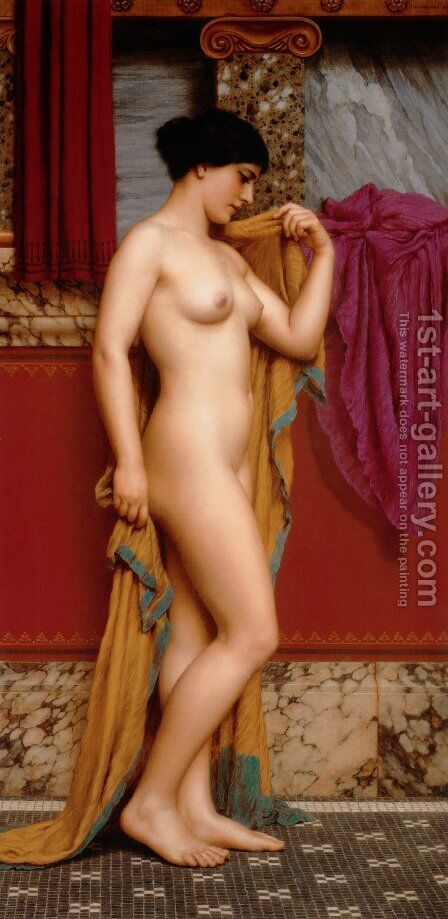 In The Tepidarium by John William Godward - Reproduction Oil Painting