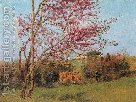 Landscape Of A Blossoming Red Almond by John William Godward - Reproduction Oil Painting