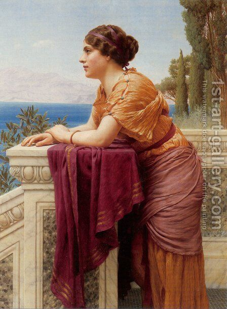 The Belvedere by John William Godward - Reproduction Oil Painting