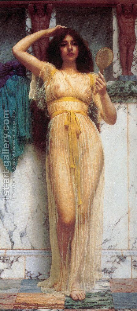 The Mirror by John William Godward - Reproduction Oil Painting