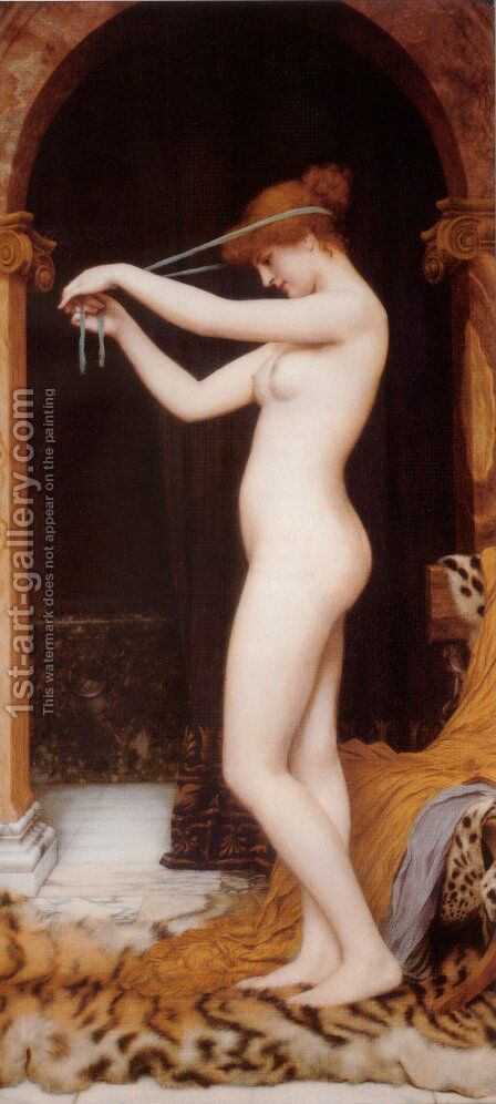 Venus Binding Her Hair by John William Godward - Reproduction Oil Painting