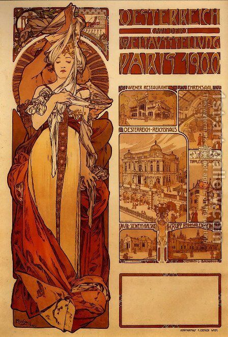 Austria by Alphonse Maria Mucha - Reproduction Oil Painting