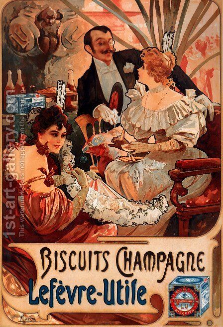 Biscuits Champagne Lefevre Utile by Alphonse Maria Mucha - Reproduction Oil Painting