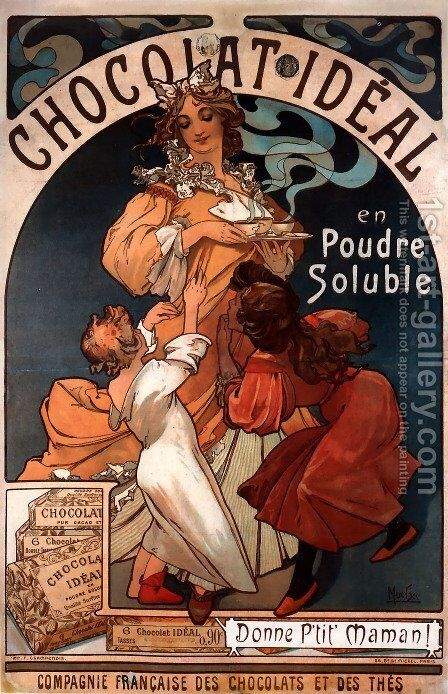 Chocolat Ideal by Alphonse Maria Mucha - Reproduction Oil Painting