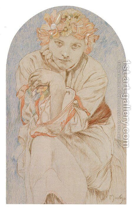 Envisage by Alphonse Maria Mucha - Reproduction Oil Painting